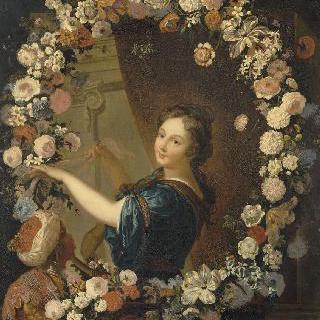 원형 화관을 쓴 파라베 백작 부인의 초상
