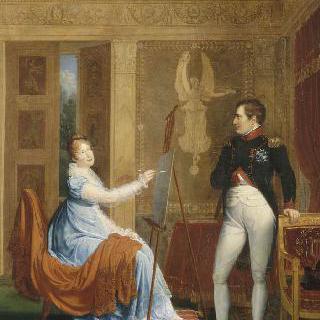 나폴레옹 1세의 초상을 그리는 마리 루이즈 황후