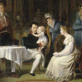 식사시간에 나폴레옹 1세에게 안겨있는 로마 왕와 마리 루이즈 왕비