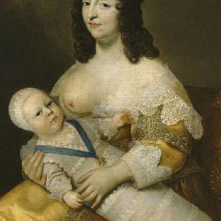 마리 드 롱게 드 라 지로디에르 유모 품에 배냇옷을 입은 갓난아기 루이 14세
