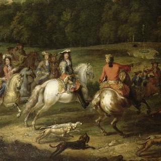 뫼돈 성이 보이는 곳에서 사냥하는 루이 14세와 궁중 조신들