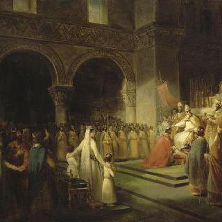 생 드니 수도원에서의 교황 스테파노 2세가 축성한 피핀 3세의 대관식