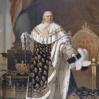 왕좌 앞 왕가 예복을 입은 루이 18세 프랑스 왕의 전신 (1755-1824)