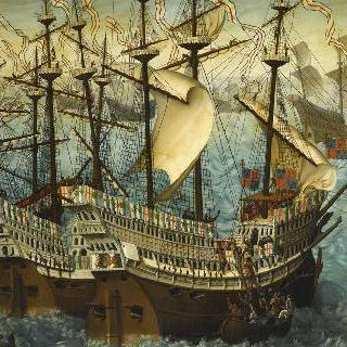 1520년 5월 31일 프랑스 칼레 방문을 위한 도버 항에서 승선하는 영국 왕 헨리 8세
