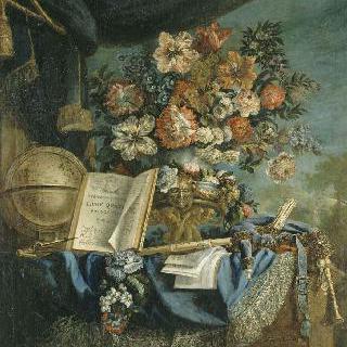 지구 전도와 악기들이 있는 정물
