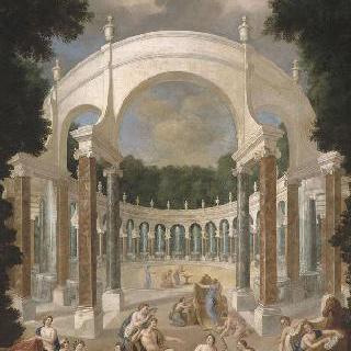 아폴로과 요정들이 있는 주랑의 전경