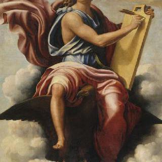 파트모스에서 요한 묵시록을 쓰고 있는 성 요한 사도
