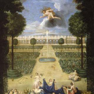 화단에서 바라본 플로라와 제피로스의 상이 있는 그랑 트리아농의 전경
