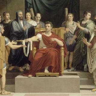 수뷔라뉘스에게 왕궁 총독의 위엄의 표식인 검과 어깨 끈을 넘겨주는 트라잔