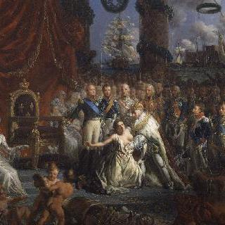 1814년 부르봉 왕가의 복귀의 우의화 : 폐허로 변한 프랑스를 재건하는 루이 18세