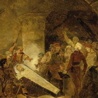 1793년 생 드니에서의 앙리 4세 관의 개봉 (초벌화)