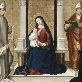 두 성인과 두 기부자 사이의 성모와 아기 예수