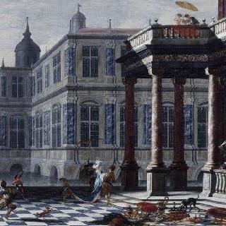 우아한 축제의 인물들이 있는 이탈리아 궁전의 경치