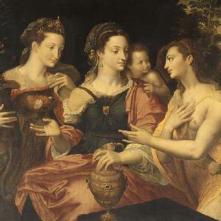 꽃을 선사하는 젊은 여인들