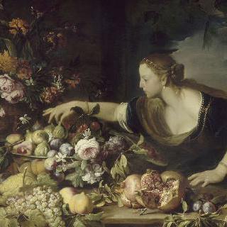 과일을 들고 있는 여인