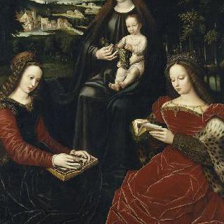 성녀 바르브, 성녀 카트리나와 함께 있는 아기 예수를 안고 있는 성모