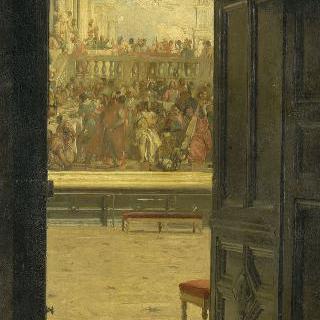 베로네즈의 가나의 혼인자치가 있는 루브르 박물관의 살롱 카레의 전경