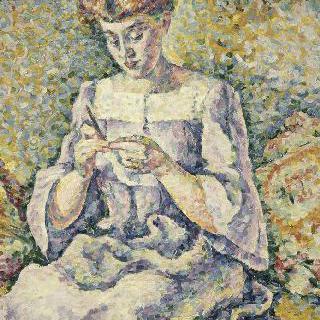 뜨개질을 하는 여인