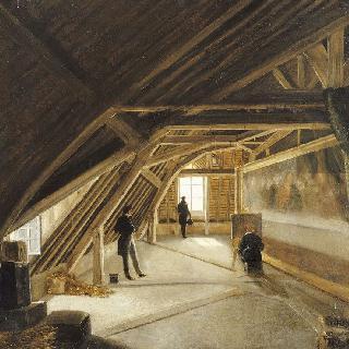 작업중인 모방자가 있는 미술관 다락방의 모습