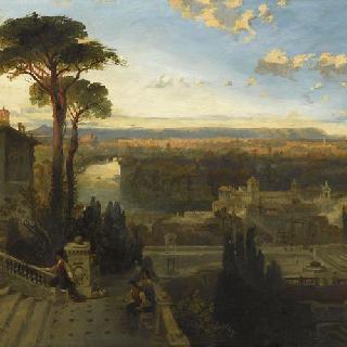 자니퀼 산위의 산 오노프리오 수도원에서 본 석양의 로마 전경