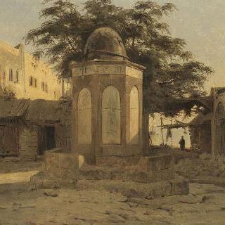 베이루트의 씨앗 시장의 광장 가운데 고대 아랍인 샘