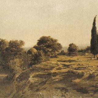 베이루트 부근의 공동묘지와 움푹한 길의 전경