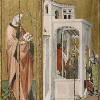 도종 지방의 제단 장식화 : 제자에게 화재를 끄게 한 성 안드레아와 성녀 순교자