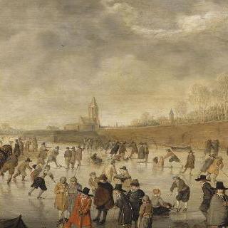 캄펜에서 스케이트를 타는 사람들