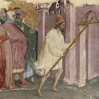 상의를 입고 맨발로 십자가를 예루살렘에 돌려주는 헤라클리우스 황제