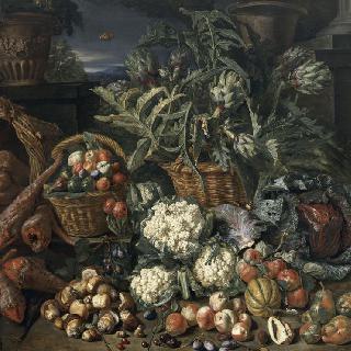 야채와 과일이 있는 정물