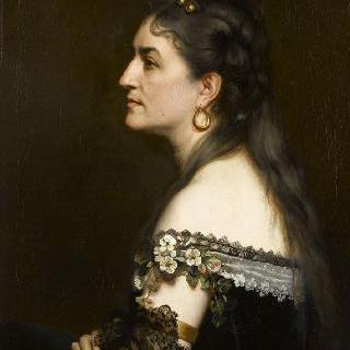 옷깃이 넓은 드레스를 입은 여인의 초상