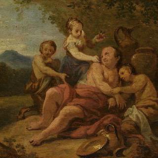 요정 에글레에 의해 산딸기로 더럽혀진 실레누스
