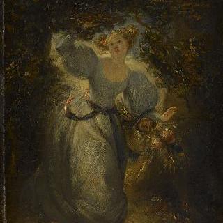 손에 꽃바구니를 들고 정원을 지나는 젊은 여인
