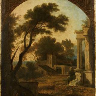 고대 사원의 폐허가 있는 풍경