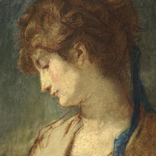 푸른색 리본을 맨 여인의 얼굴