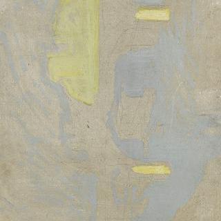 노란색과 푸른색 터치가 있는 밑그림