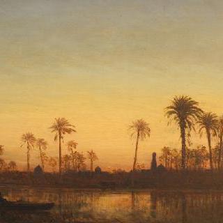 다만후르 새벽녘의 나일 강가