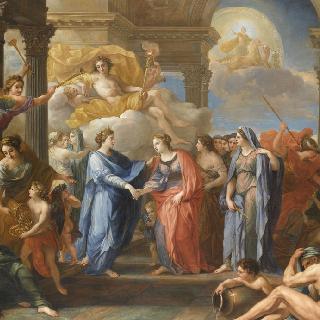 프랑스의 왕세자와 마리 안 빅투아르 드 바비에르 간의 연합을 상징하는 우의