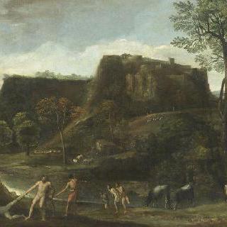 은신처의 카쿠스를 향하여 활을 쏘는 헤라클레스가 있는 풍경
