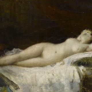 흰색 나사 위에 누워 있는 나부 (티치아노의 잠든 비너스에서 영감을 받은 작품)