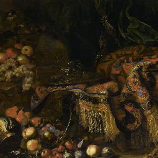 정물, 양탄자 위의 여러 과일들 이미지