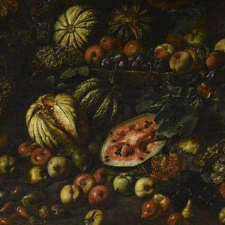 포도, 수박 및 여러 과일이 있는 정물