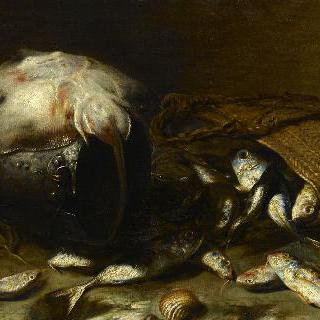 냄비 안의 가오리와 바구니 안의 물고기