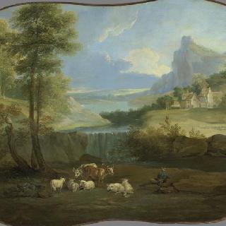 동물 떼와 폭포가 있는 풍경