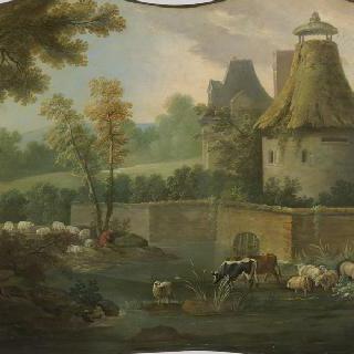 동물 떼와 비둘기 집이 있는 풍경