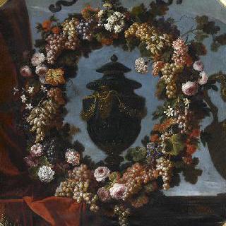 꽃과 과일의 화환으로 둘러 싸인 뚜껑이 있는 청금석 꽃병