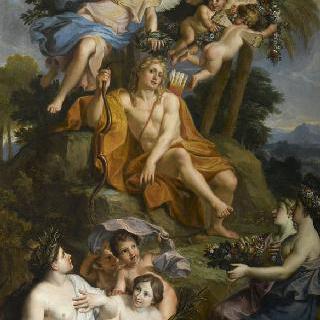 사악한 뱀 파이톤을 무찔러 승리의 여신으로부터 관을 수여 받는 아폴론