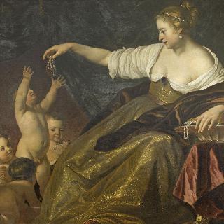 아이들과 놀며 진주를 나누어주는 젊은 여인