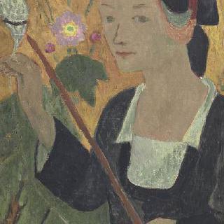 실 잣는 여인과 아네모네 꽃