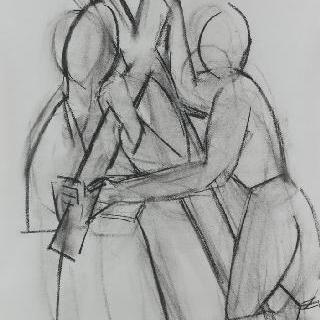 십자가의 여정의 5 번째 작품을 위한 습작 : 시몬과 키레네